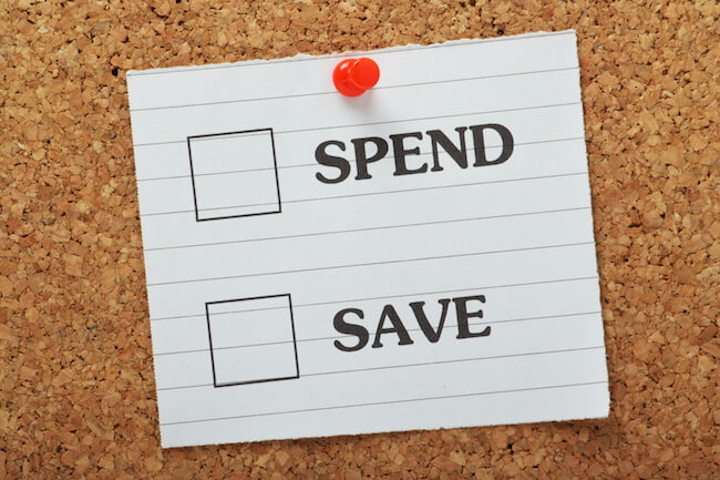 """a checklist that reads """"spend"""" or """"save"""""""