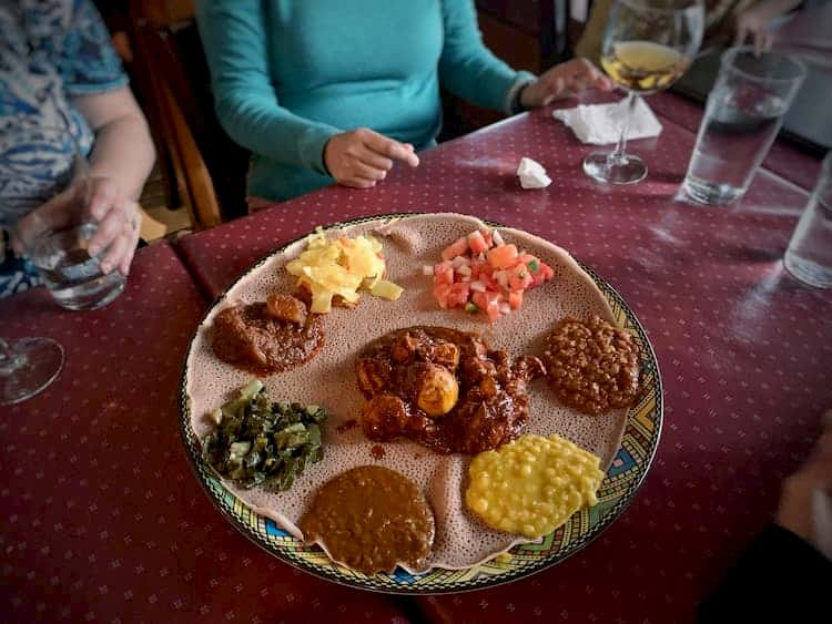 Sampler plate at Dukem Ethiopian Restaurant