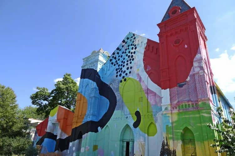 Church painted with a colorful mural in D.C.