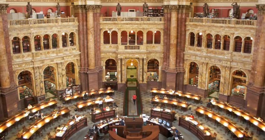 The Main Reading Room in the Library of Congress