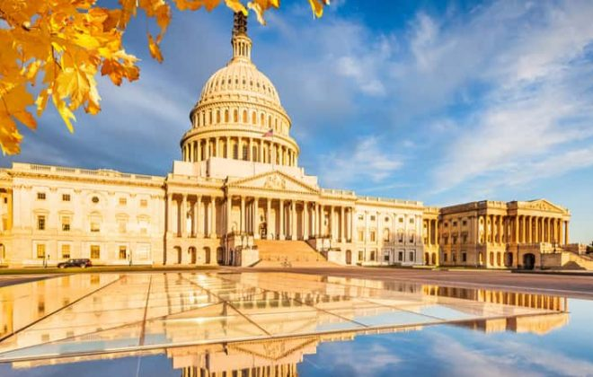The U.S. Capitol surrounded by yellow autumn leaves