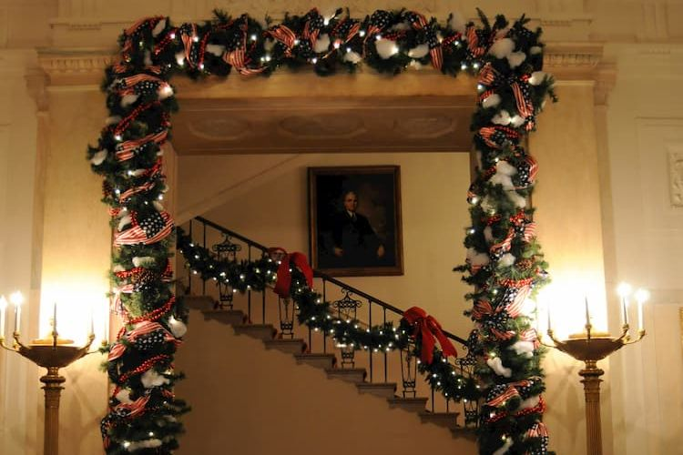 Christmas decorations inside White House