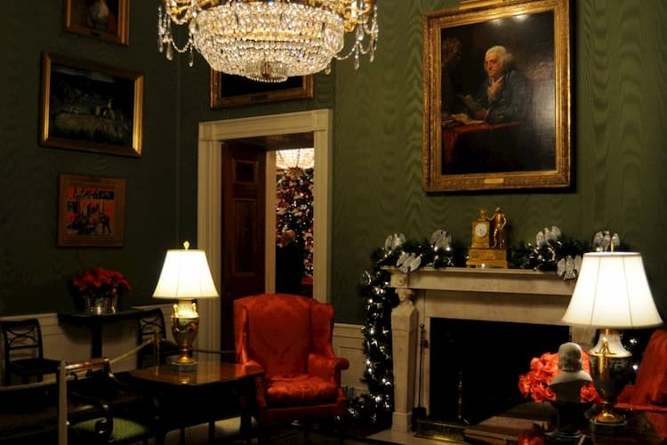Green Room decorated for the holidays