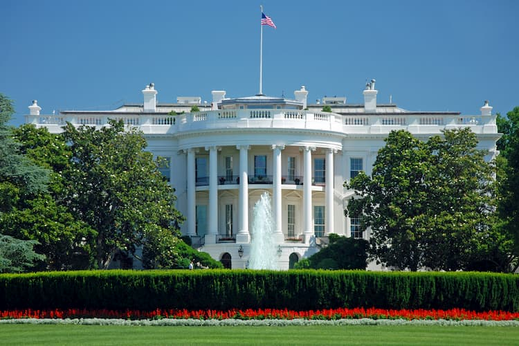 White House rotunda with fountains