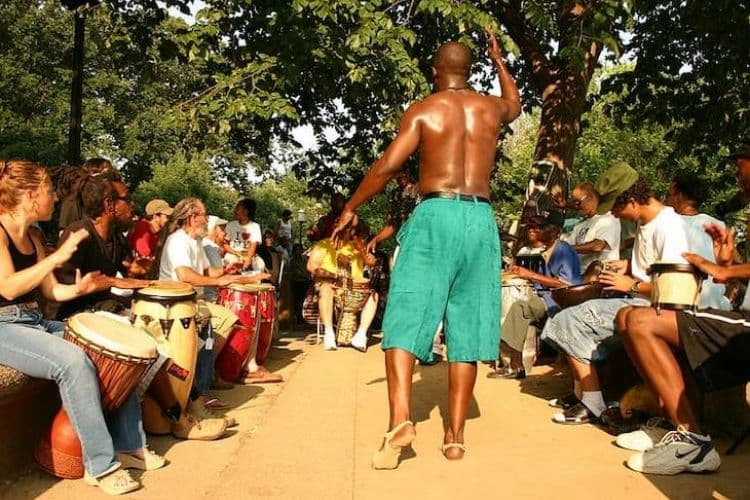 Drum circle in Meridian Hill Park