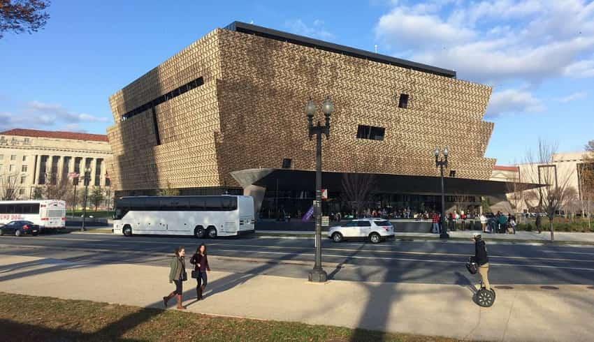 The outside of the National Museum of African American History and Culture in winter