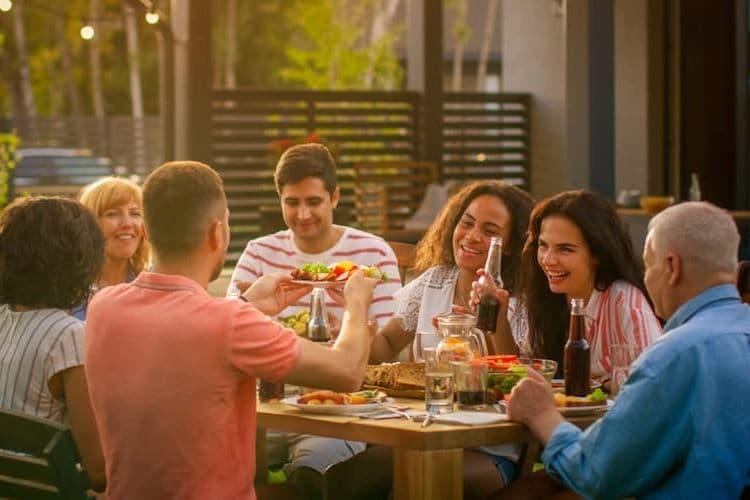 Large family eating outside