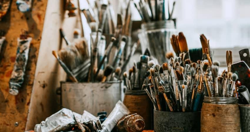 Ac lose up on paintbrushes