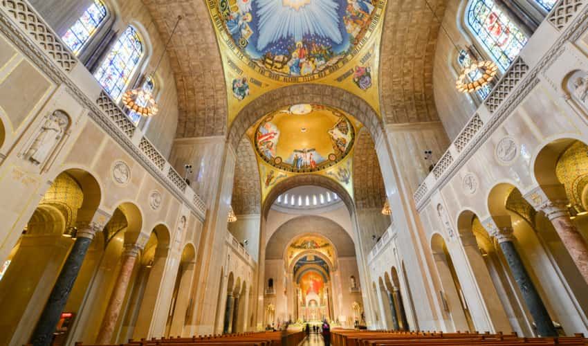inside of the Basilica of the National Shrine of the Immaculate Conception on the Catholic University of America campus