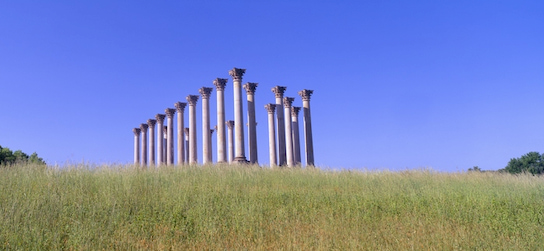 columns in a field at the US National Arboretum in Washington DC