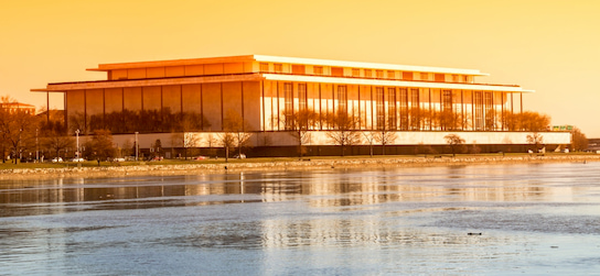 view across the Potomac River at the John F. Kennedy Center for the Performing Arts