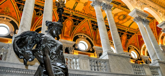 a statue and marble columns in the Library of Congress in Washington DC